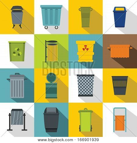 Garbage container icons set. Flat illustration of 16 garbage container vector icons for web