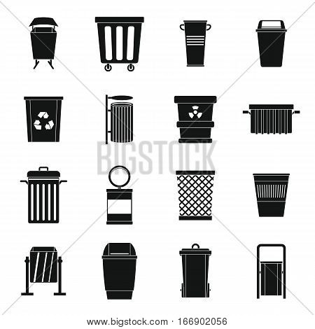 Garbage container icons set. Simple illustration of 16 garbage container vector icons for web