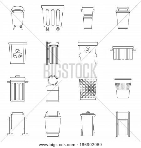 Garbage container icons set. Outline illustration of 16 garbage container vector icons for web