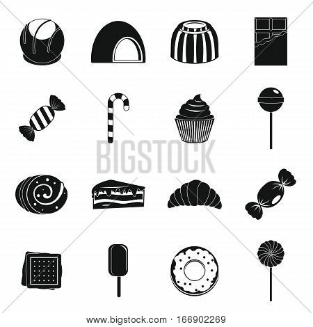Sweets and candies icons set. Simple illustration of 16 sweets and candies vector icons for web