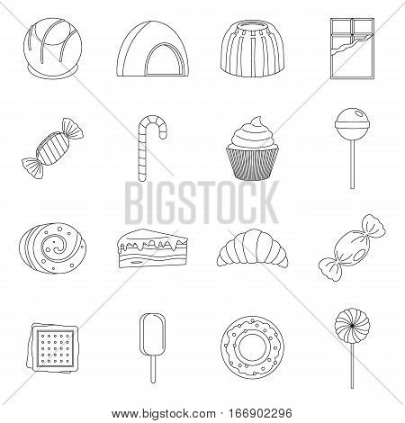 Sweets and candies icons set. Outline illustration of 16 sweets and candies vector icons for web