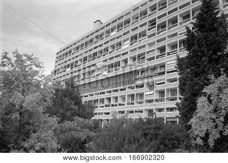 MARSEILLE FRANCE - CIRCA 1995: Unite d Habitation meaning Housing Unit is a modernist residential housing design developed by Le Corbusier in black and white