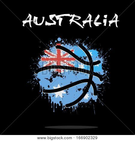 Abstract basketball ball painted in the colors of the Australia flag. Vector illustration