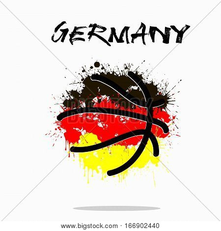 Abstract basketball ball painted in the colors of the Germany flag. Vector illustration