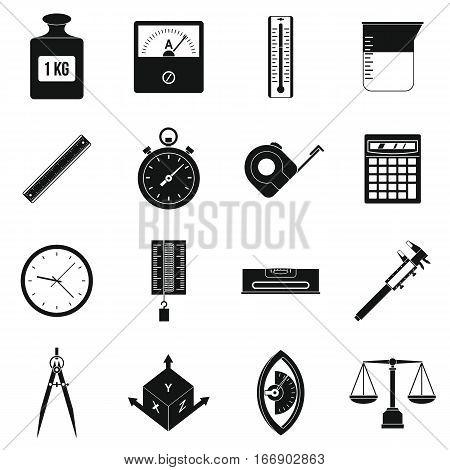Measure precision icons set. Simple illustration of 16 measure precision vector icons for web poster