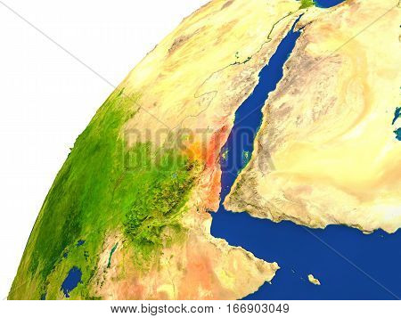 Country Of Eritrea Satellite View