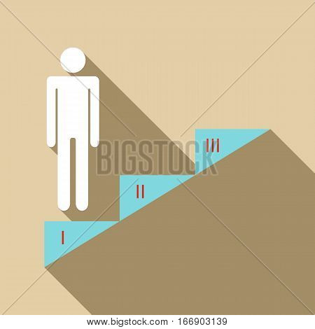 Infographics stair step icon. Flat illustration of infographics stair step vector icon for web design