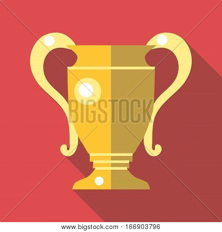Gold trophy cup icon. Flat illustration of gold trophy cup vector icon for web design