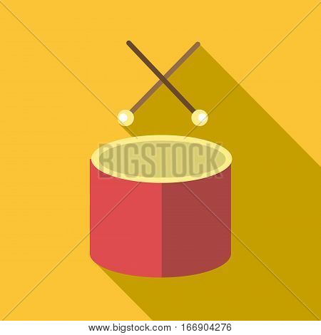 Drum with sticks icon. Flat illustration of drum with sticks vector icon for web design