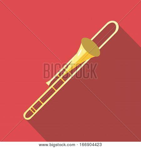 trombone icon. Flat illustration of trombone vector icon for web design