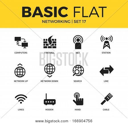 Basic set of net, lines and line icons. Modern flat pictogram collection. Vector material design concept, web symbols and logo concept.