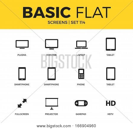 Basic set of smart phone, tablet and plasma icons. Modern flat pictogram collection. Vector material design concept, web symbols and logo concept.