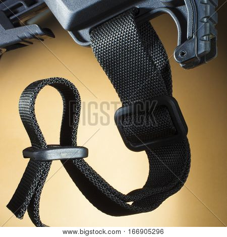 One inch nylon sling on the stock of a semi automatic rifle