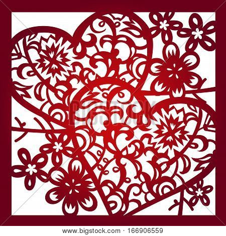 Laser cut flower pattern for decorative panel. Vector template ready for printing, postcards packets, wedding invitation, engraving, paper, wood, metal.Valentins holiday