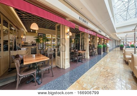 MOSCOW - AUGUST 2014: Both the interior and exterior of a Turkish chain restaurant