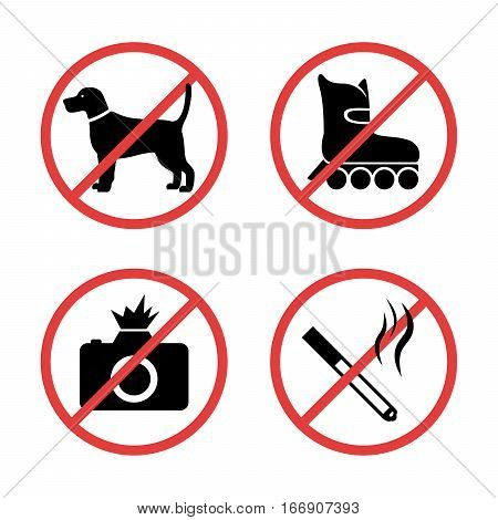 Signs forbidding different actions in various places. Signs are located on a white background. Vector.