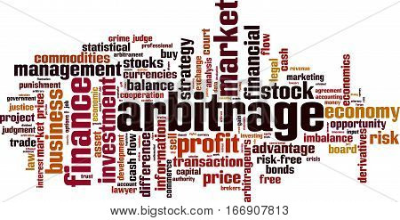 Arbitrage word cloud concept. Vector illustration on white