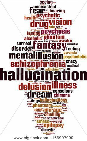 Hallucination word cloud concept. Vector illustration on white