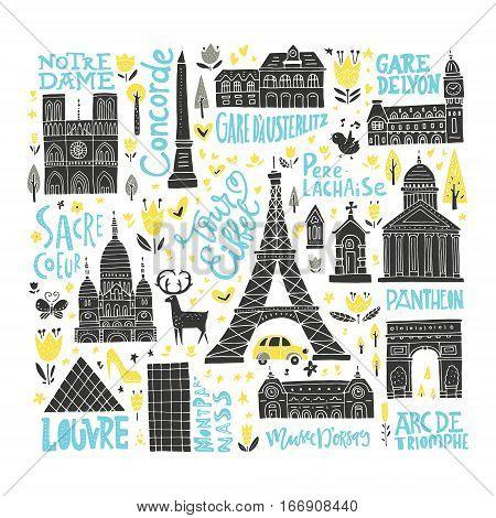 Collection of Paris tourist attractions. France symbols clipart set.