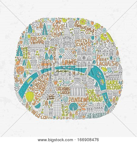 Unique handdrawn map of Paris with all main tourist attractions and lettering.