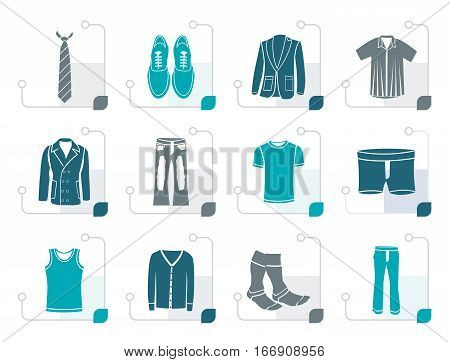 Stylized man fashion and clothes icons - vector icon set
