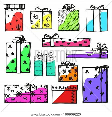 Hand drawing vector set with gifts. Gifts for different holidays. On New Year's Eve Christmas birthday Valentine's Day and others.