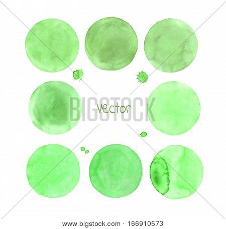 Green Vector Isolated Watercolor Paint Circle