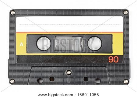 Vintage 90 minutes black compact cassette on white background