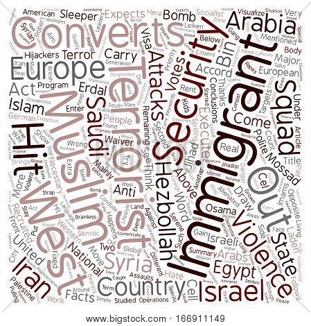 Immigrants and Converts responsible for Muslim Terror Violence in the West text background wordcloud concept