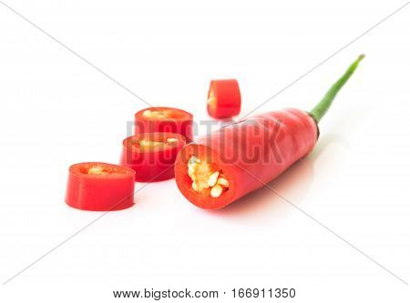 Red hot chilli pepper and slice on white background raw material for make cooking