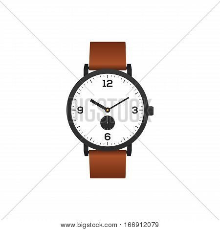 Classic watch with brown leather strap isolated on white background vector illustration