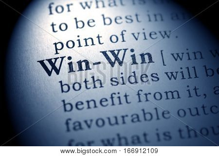 Fake Dictionary Dictionary definition of the word win-win.