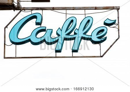 Luminous lighted sign coffee. Illuminated sign of a coffee shop. Iron metal structure. Light blue Colour. White background.