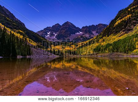 Maroon Bells on a Cold Fall Night