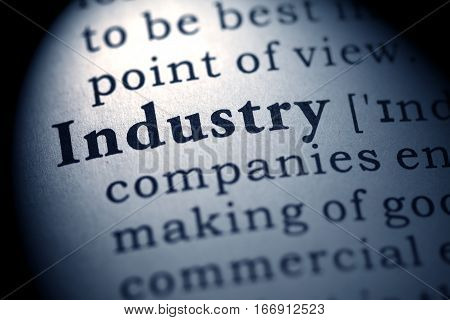 Fake Dictionary definition of the word industry.