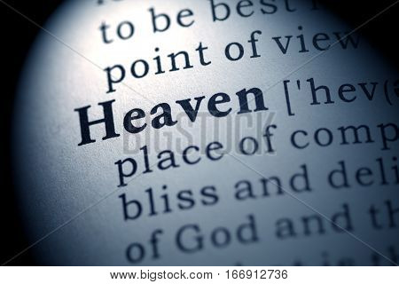 Fake Dictionary definition of the word heaven.