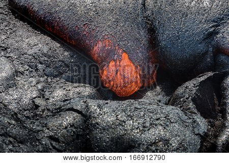Close Up Lava Flow In Lava Field