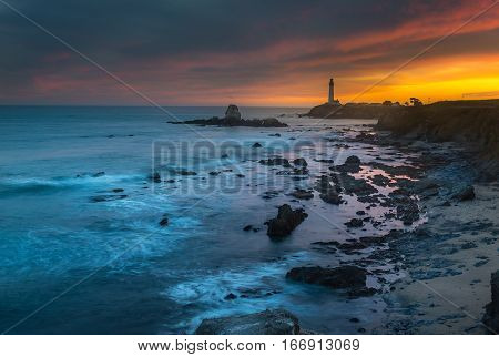 Pigeon Lighthouse during beautiful sunset, Landscape in California