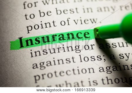 Fake Dictionary definition of the word Insurance.