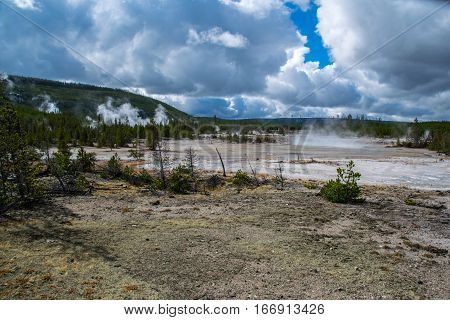 Steam Rising at Sulfur Pits in Yellowstone