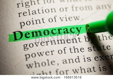Fake Dictionary definition of the word Democracy.