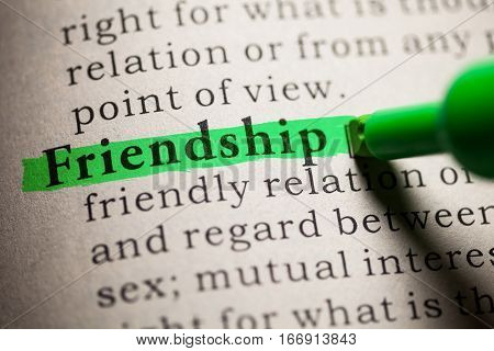 Fake Dictionary definition of the word Friendship.