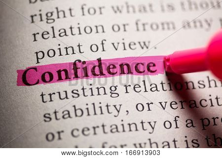 Fake Dictionary definition of the word Confidence.