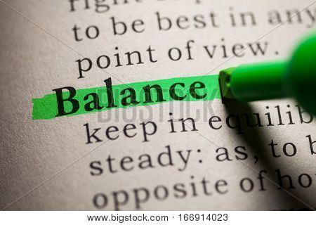 Fake Dictionary definition of the word Balance.