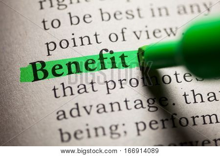 Fake Dictionary definition of the word Benefit.