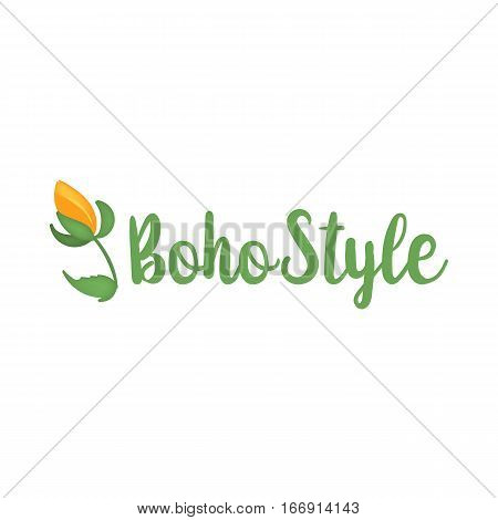 Vector illustration of boho logo. Bohemian logo with Boho Style text and flower on white background. Boho logo in green color.