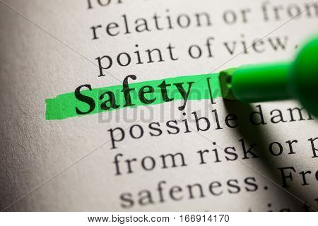 Fake Dictionary definition of the word Safety.