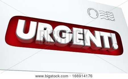 Urgent Message Envelope Letter Communication 3d Illustration