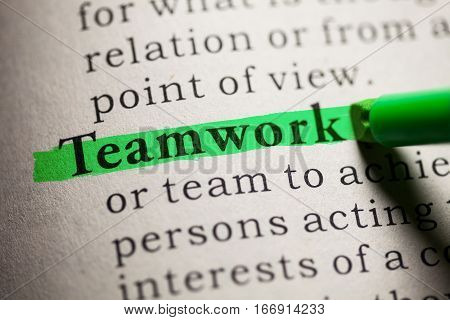 Fake Dictionary definition of the word Teamwork.
