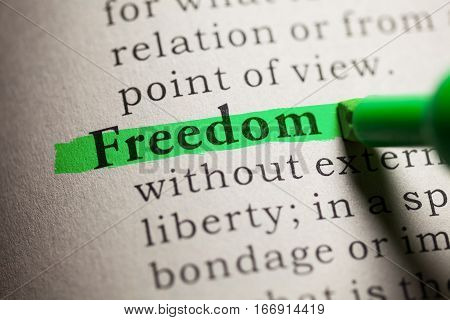 Fake Dictionary definition of the word Freedom.